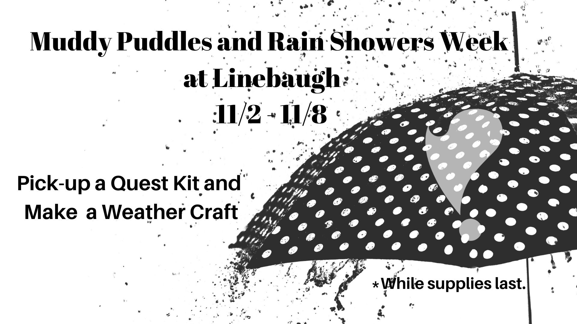 Muddy Puddles and Rain Showers Quest Kits at Linebaugh
